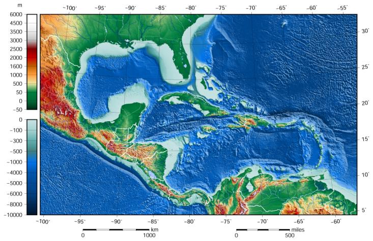 Mapa Mexického zálivu a Karibiku. Právě tato oblast byla před 66 miliony let zdaleka nejsilnějizasažena fyzikálními efekty dopadu planetky Chicxulub. Pohřbený kráter dnes leží zčásti pod horním cípem poloostrova Yucatán.Kredit:GLOBE/ETOPO1, Wikipe