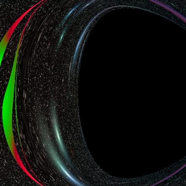 Vizualizace pro pozorovatele mezi černou dírou a akrečním diskem. Kredit: Michal Staněk & Pavel Bakala.