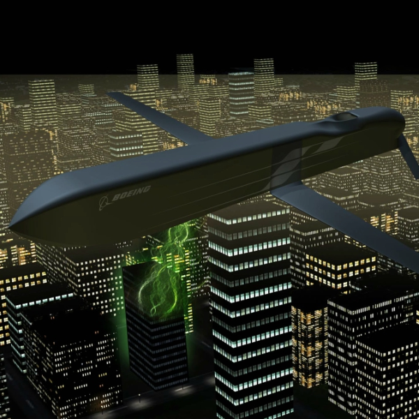 Střela CHAMP splochou dráhou letu. Kredit: Boeing.
