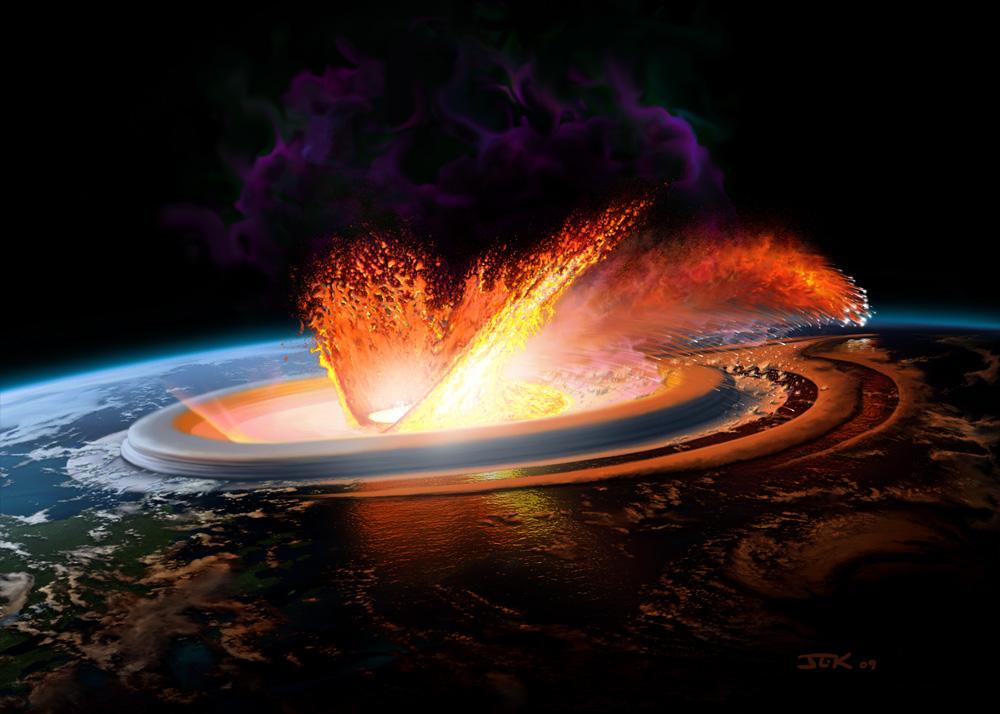 Představa o drastickém účinku dopadu asteroidu Chicxulub před 66 miliony let. Dosud nevíme, odkud přesně pocházel, ani jak velkou cestu k naší planetě musel urazit. Jisté je, že své putování zakončil jižně od pobřeží tehdejší