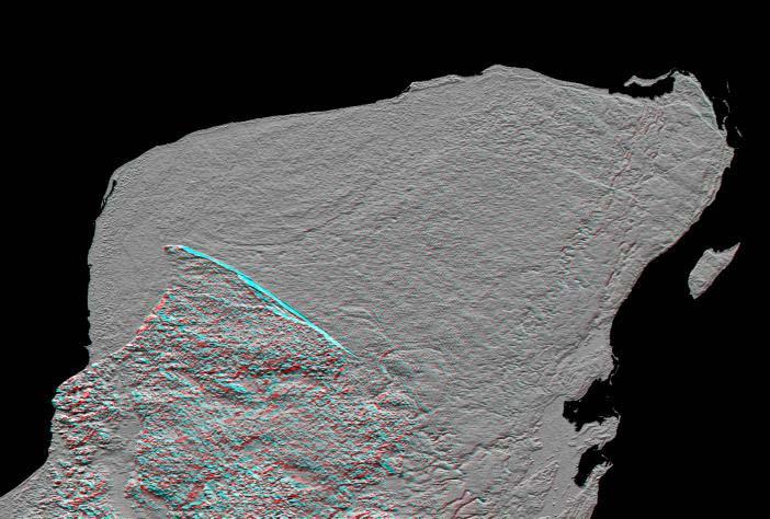 Radarový snímek cípu Yucatánského poloostrova s dobře patrnými kruhovými okraji pohřbeného impaktního kráteru Chicxulub. Tento útvar byl veřejně odhalen v roce 1991, ačkoliv již o čtyři desetiletí dříve na jeho existenci poukazovaly provedené geologi