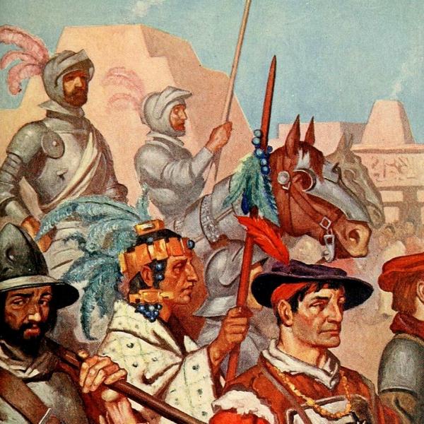 Cortés a paratyfus vstupují do Tenochtitlánu, jednoho znejvětších měst tehdejšího světa. Kredit: volně dostupné / Margaret Duncan Coxhead.