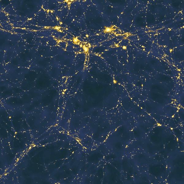 Jeden zmodelů struktury kosmické sítě. Kredit: Andrew Pontzen & Fabio Governato.