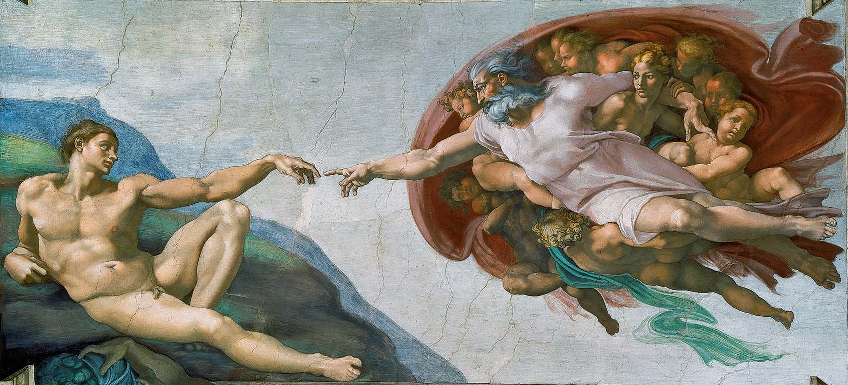 Slavné zpodobnění Boha vSixtinské kapli: Stvoření Adama, Michelangelo (Wikipedia, veřejné dílo)