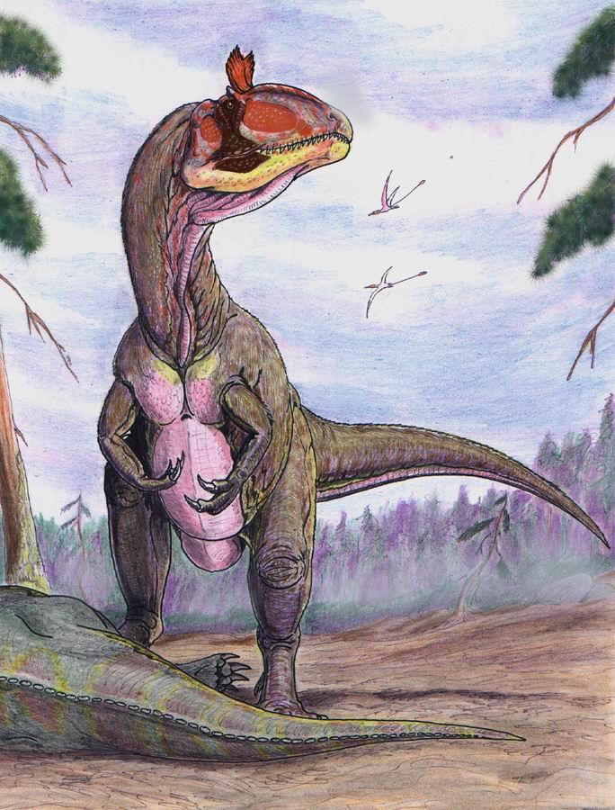 """Mezi antarktické dinosaury patří i zajímavý teropod Cryolophosaurus ellioti, který proslul svým """"elvisovským"""" hřebínkem na lebce. Tento první dravý dinosaurus známý z ledového kontinentu byl objeven v roce 1991, pět let po vůbec"""