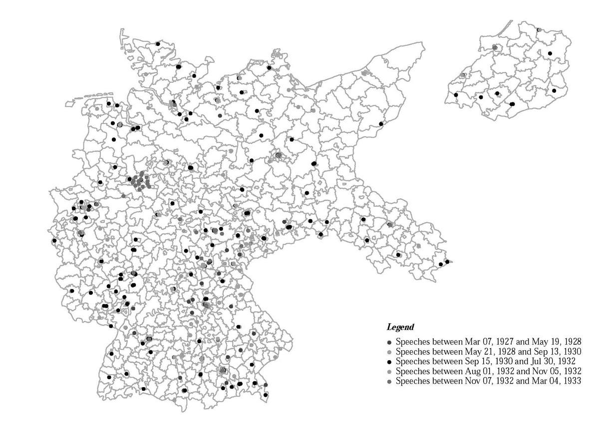 Hitlerova předvolební vystoupení vletech 1927 až 1933. Kredit: Munzert & Selb (2018).