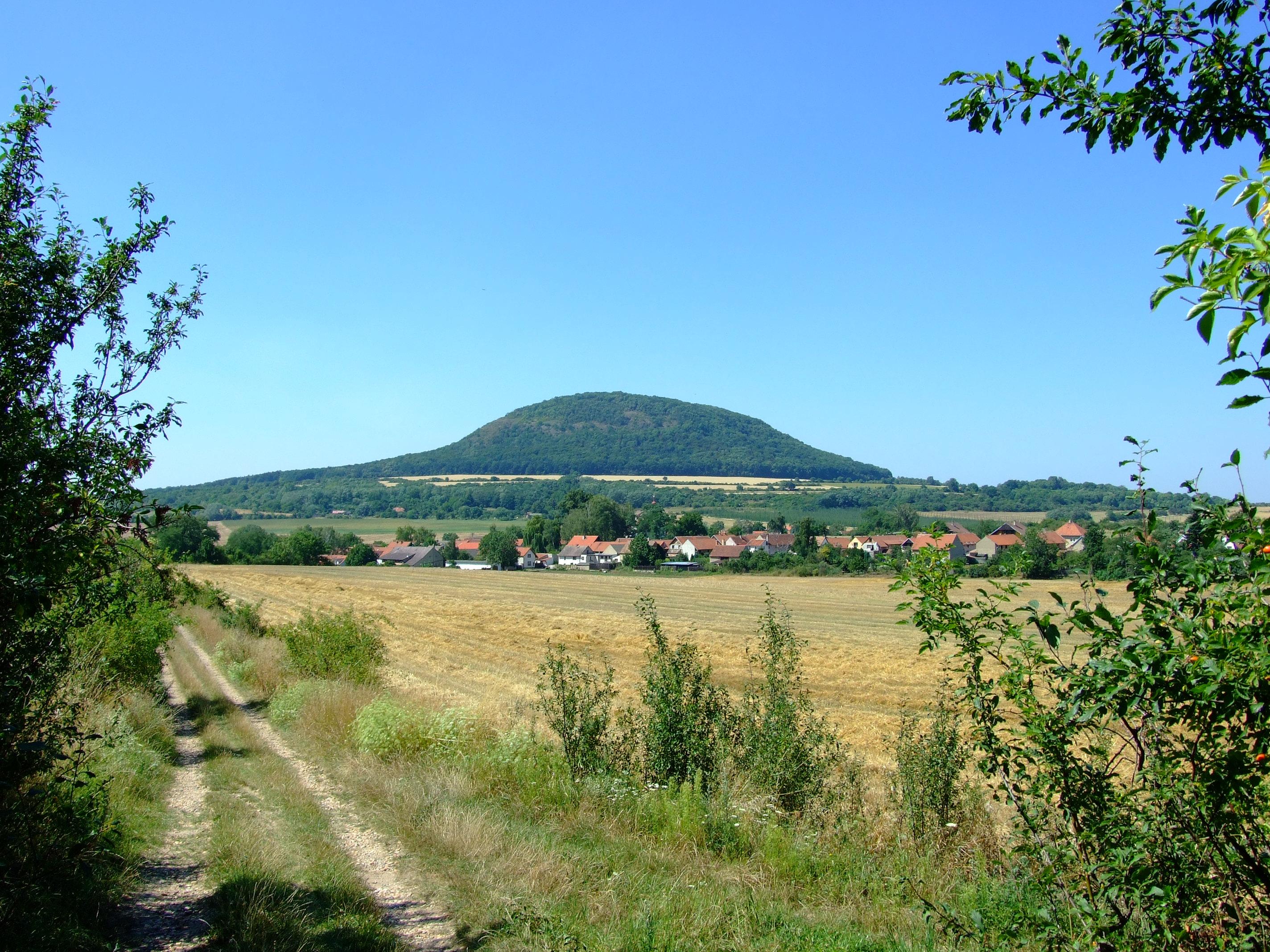 """Hora Říp - symbol české národní historie je pozůstatek bývalé sopkyČeského středohoří. I tento třetihorní vulkán sehrál svou roli """"ochlazovače"""" zemského klimatu. Foto: Aktron, Wikipedie, CC BY-SA 3.0"""