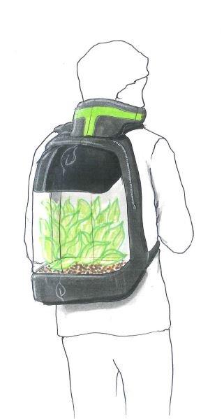 Ideový záměr osobního přenosného filtračního skleníku.