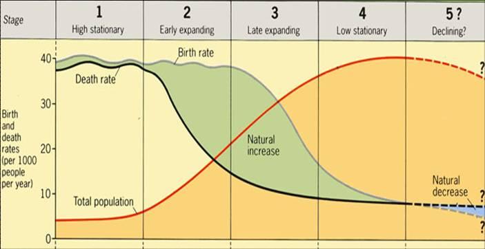 GRAF 1: Demografický přechod. Dříve lidé plodili hodně dětí, aby jim alespoň nějaké přežily. Byla totiž vysoká úmrtnost. Když moderní doba snížila úmrtnost, došlo krozmachu populace. Než si lidé uvědomili, že plodit tolik dětí už nemusejí. (birth ra