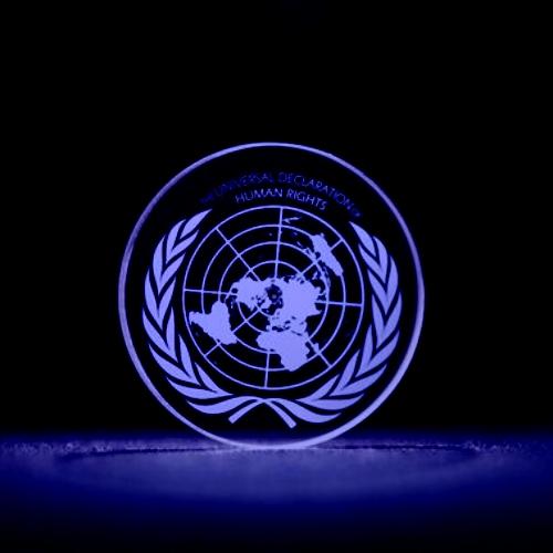 5D optický disk se Všeobecnou deklarací lidských práv. Kredit: University of Southampton.