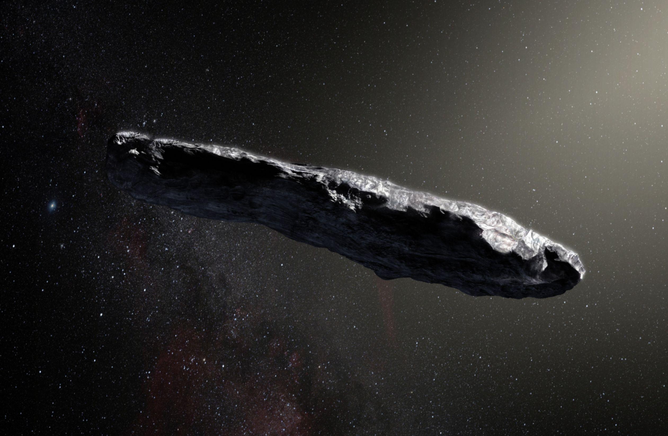 Mezihvězdná planetka ?Oumuamua. Kredit: ESO / M. Kornmesser.