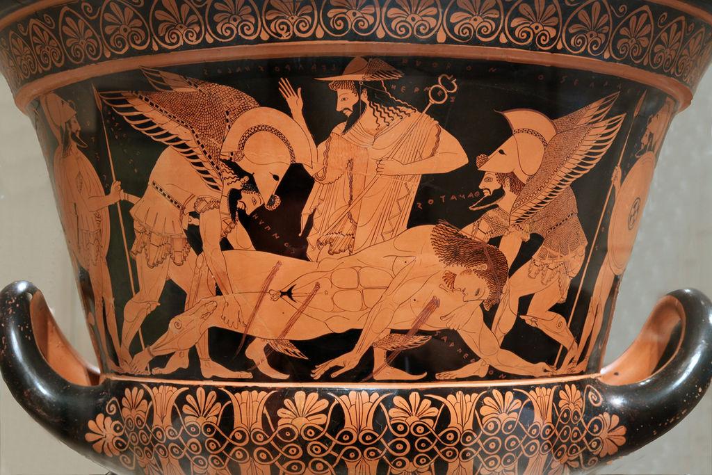 Hypnos Thanatos transportují tělo padlého do Hádu, Hermés (uprostřed) to řídí. 515 před n. l., nyní v Cerite (Cerveteri) u Říma. Kredit: Jaime Ardiles-Arce, Wikipedia.