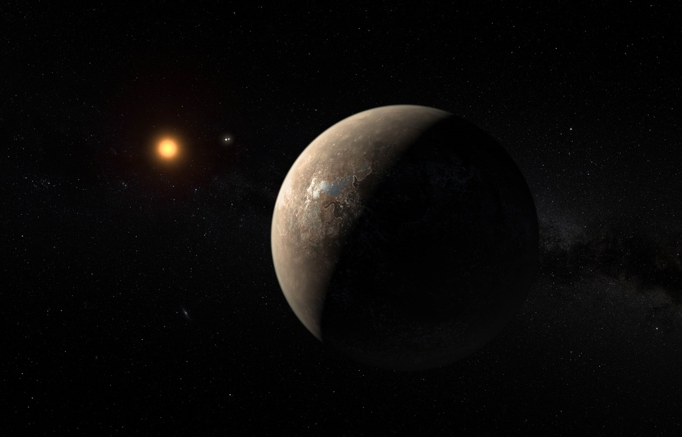 Exoplaneta Proxima Centauri b v uměleckých představách, Systém Alfa Centauri AB je kousek nalevo od Proximy Centauri (zdroj ESO, M. Kornmesser).