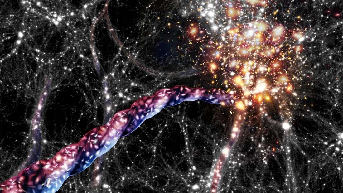 Vlákno kosmické pavučiny. Kredit: AIP/ A. Khalatyan/ J. Fohlmeister.