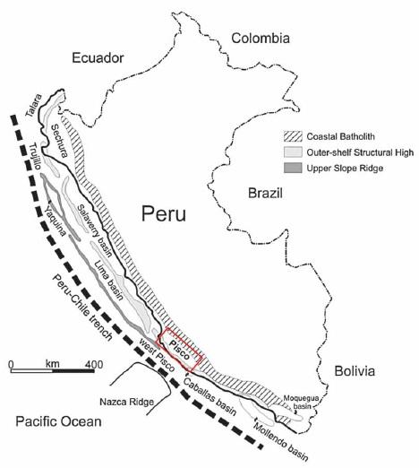 Místo nálezu fosilie pánev Pisco v jižním Peru je stratigraficky podrobně zmapována.  (Kredit: Claudio Di Celma, 2015)