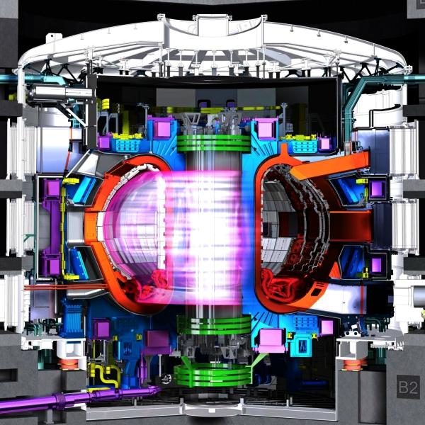 Tokamak plnĂ˝ plasmy. Kredit: ITER.