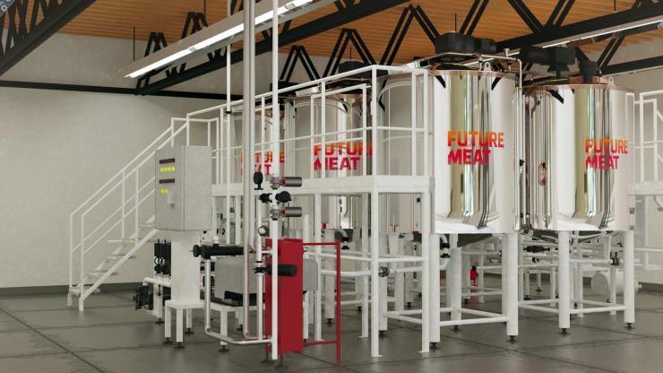 Laboratoř firmy Future Meat. Její patentované bioreaktory mají nahrazovat kurník a bránit týrání drůbeže. Výsledný produkt by měl mít stejnou výživnou hodnotu a o 80 % menší skleníkové emise. O chuti zpráva nehovoří. Kredit: Future Meat.