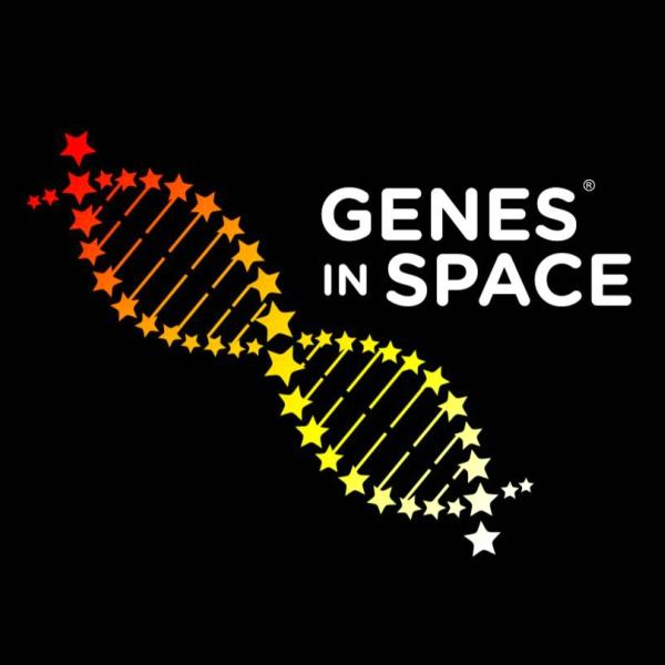 Logo programu Genes in Space. Kredit: NASA.