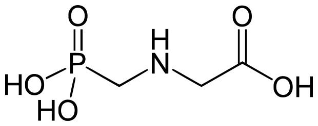 Strukturní vzorec glyfosátu (N-(fosfonomethyl)glycin).