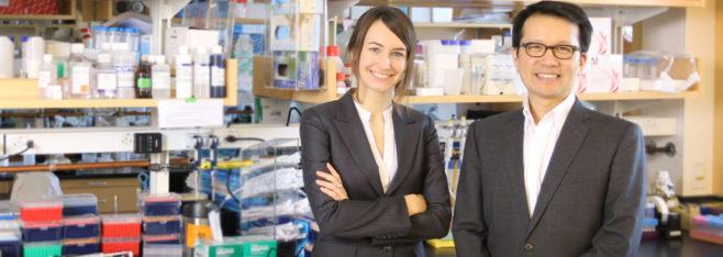 Christina Gosmann, první autorka publikace, spolu s vedoucím kolektivu Douglas S. Kwon. (Kredit: Ragon Institute of MGH, MIT and Harvard)
