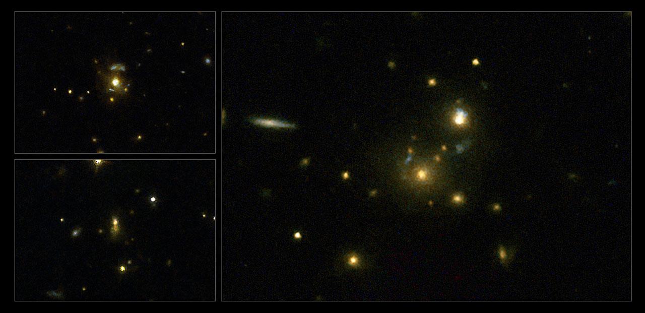 Rádiové galaxie 3C 297, 3C 454.1 a 3C 356 (vpravo), které byly součástí studie. Kredit: NASA, ESA, M. Chiaberge (STScI).