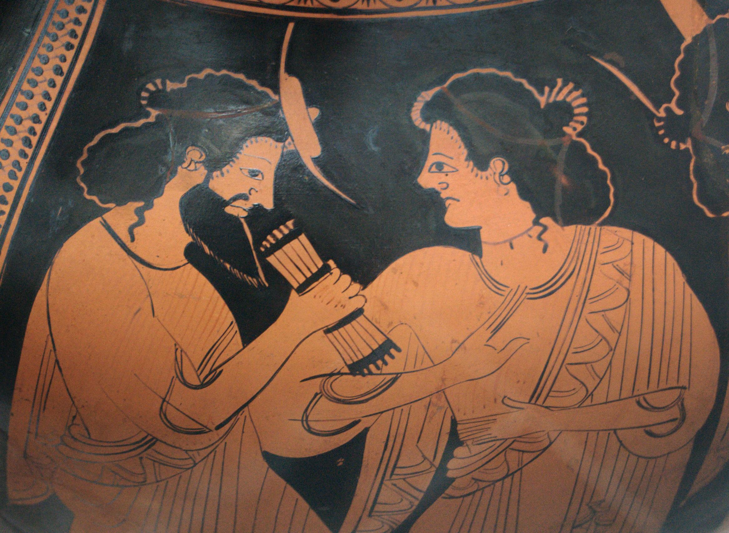 Hermés a jeho matka Máia, 500 před n. l., nyní v Berlíně. Kredit: Nikoxenos Painter, Wikipedia.