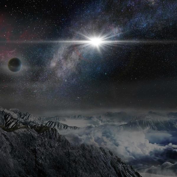 Jak by vypadala hypernova ASASSN-15lh při pozorování z exoplanety ve stejné galaxii, vzdálené od hypernovy 10 tisíc světelných let. Kredit: Wayne Rosing.