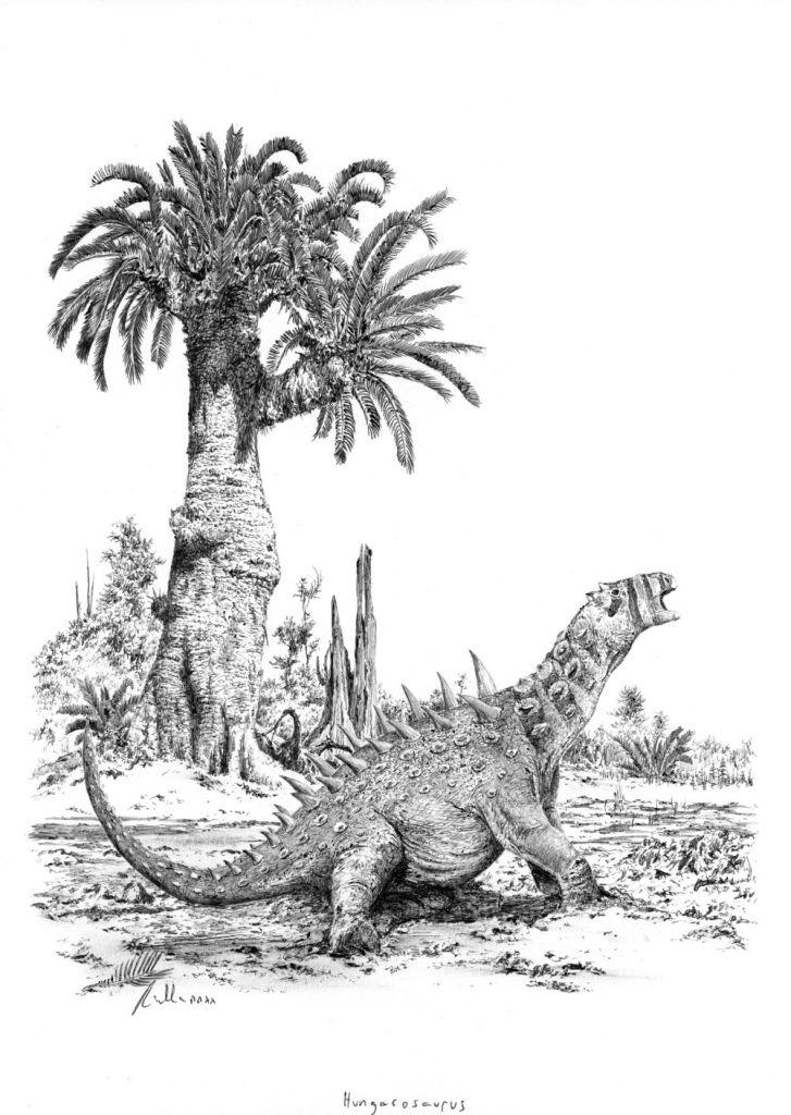 """Hungarosaurus tormaina ilustraci Vladimíra Rimbaly ke knize autora bloguPravěcí vládci Evropy. Hungarosauři byli středně velcí nodosauridi, vybavení charakteristickým tělesným """"pancířem"""". Žili na území současného Maďarska v době před 85 miliony let"""