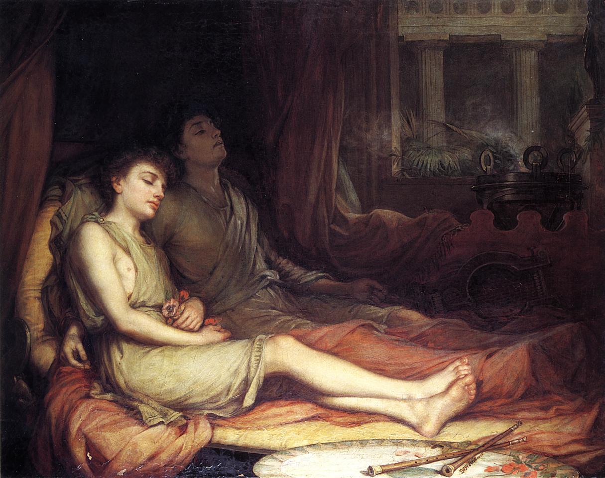 Hypnos a Thanatos v modernějším podání od Johna Williama Waterhouse.