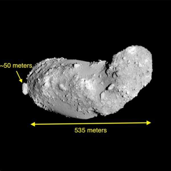 """Známý asteroid Apollonovy skupiny 25143 Itokawa. Cíl cvičení 2012 TC4 je velký asi jako """"zaječí ocásek"""" Itokawy. Kredot JAXA."""