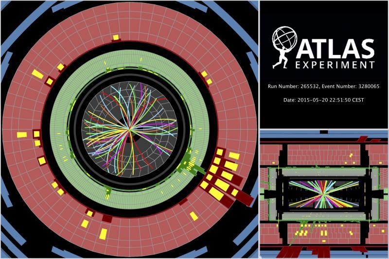 Jedna z prvních srážek při energii 13 TeV pozorovaná na experimentu ATLAS (zdroj CERN).