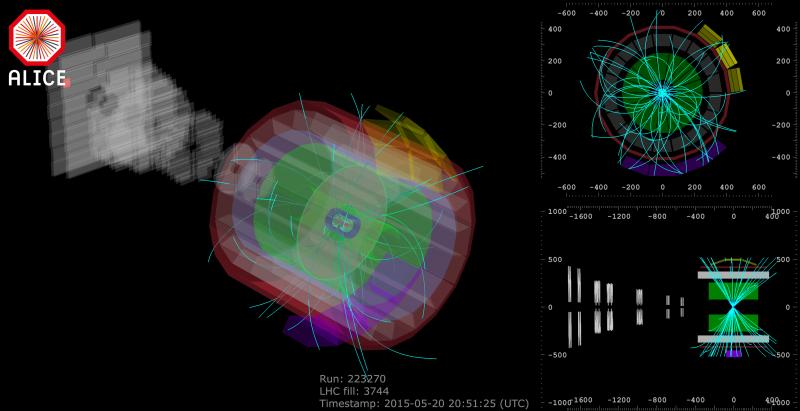 Jedna z prvních srážek zaznamenaná tentokrát už při energii 13 TeV experimentem ALICE (zdroj CERN).