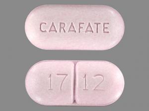 Sukralfát, alias Carafate. Zde s příměsí škrobu aby udržel tvar tablety.