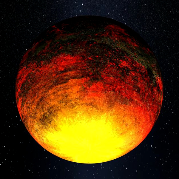 PekelnĂ˝ svÄ›t Kepler-10b. Kredit: NASA.