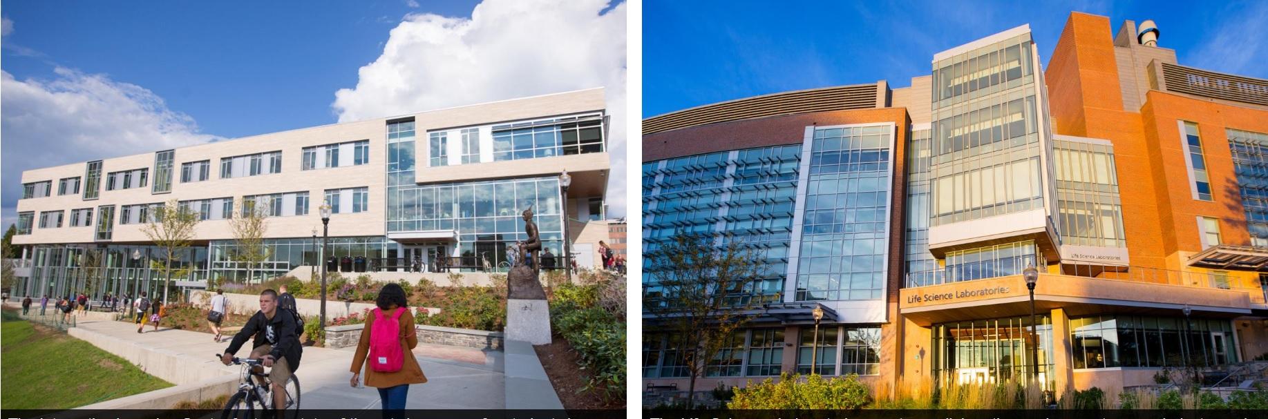 Ještě jeden pohled na UMass Amherst. Učebny jsou vlevo, laboratoře kde se pokusy s myšmi konaly, vpravo.