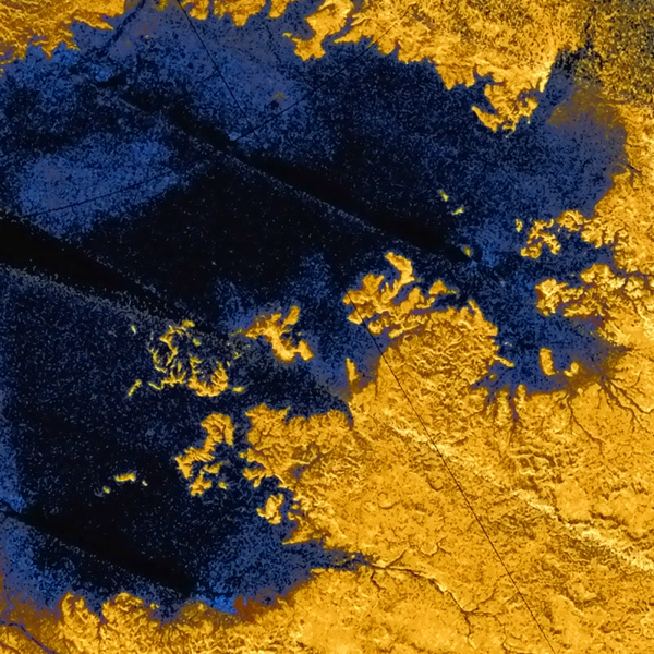 Uhlovodíkové moře Titanu Ligeia Mare. Kredit: ESA/NASA Acknowledgement: T. Cornet, ESA.