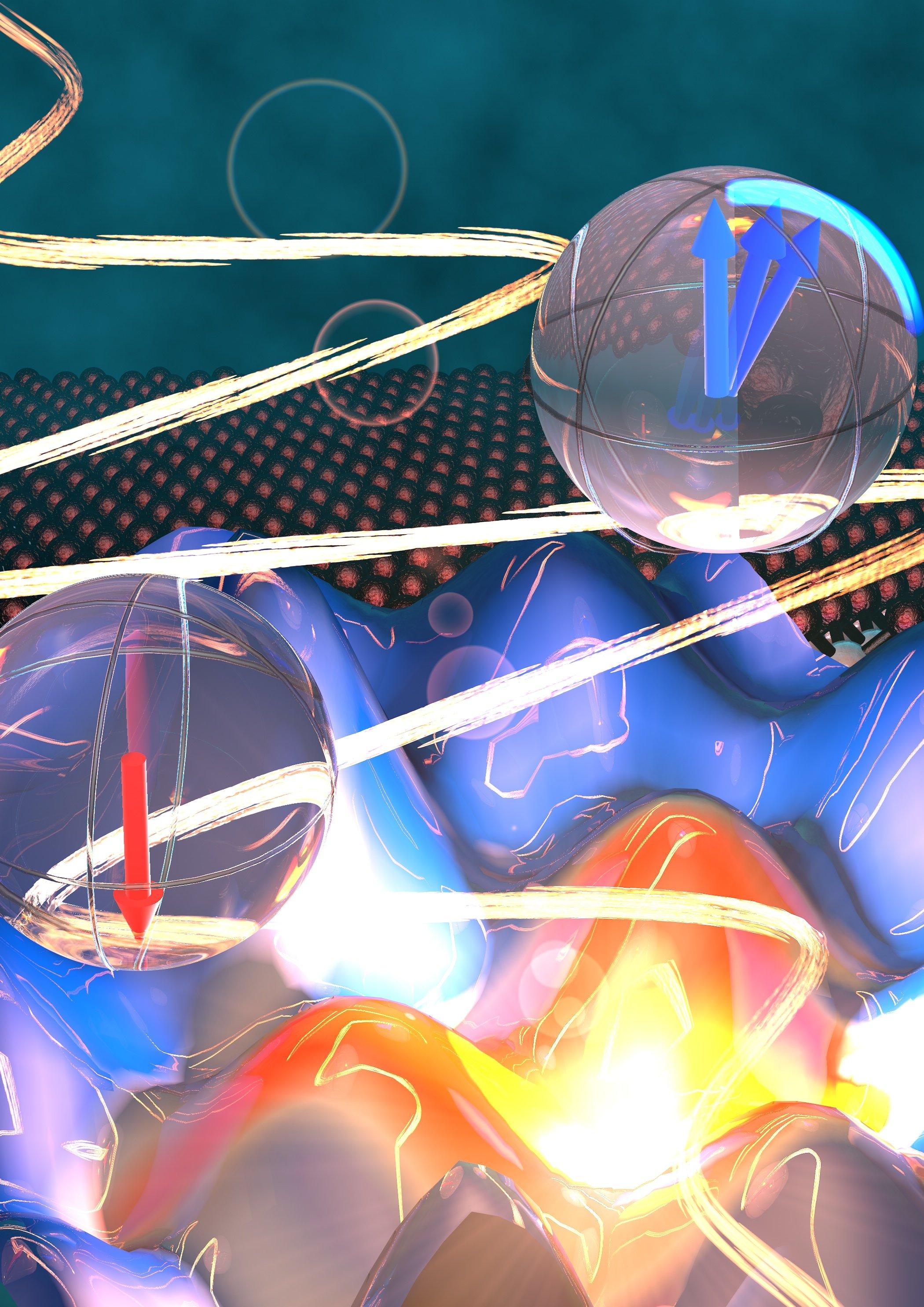 Ilustrace pseudospinů elektronů. Kredit: Stefan Schlauderer / Universität Regensburg.