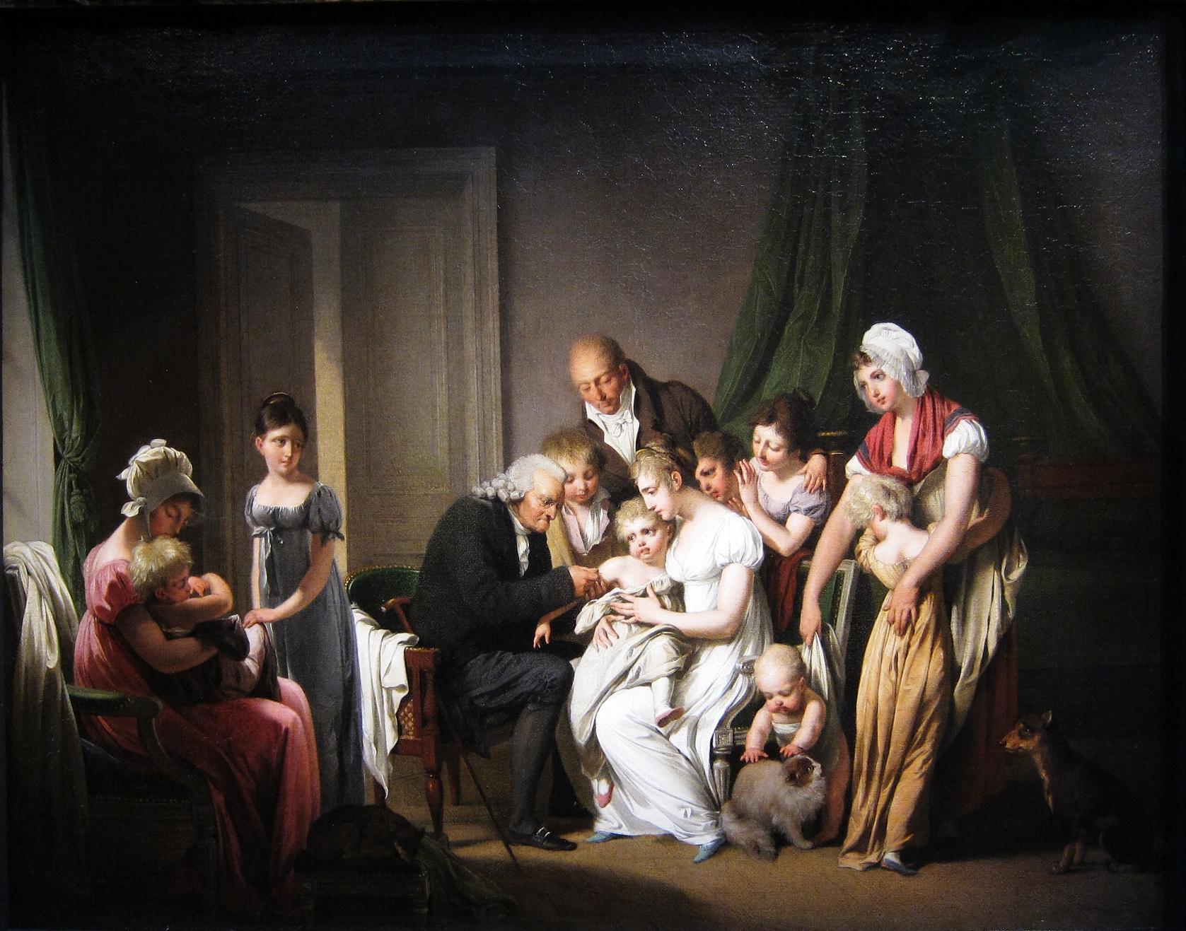 Vakcinace. Louis-Léopold Boilly, 1807. Volné dílo.