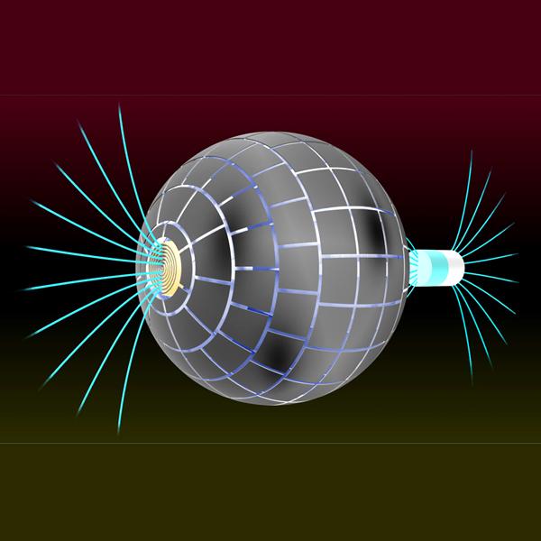 Magnetická červí díra. Kredit: Prat-Camps et al. (2015), Scientific Reports.