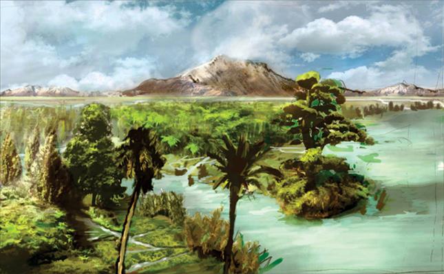 """Idealizovaná krajina raného paleocénu na území jihoamerické Patagonie (geologický věk dan, asi před 66,0 až 61,6 milionu let). Svět, který teprve před nedávnou dobou """"přišel o své dinosaury"""", dál si ale podržel extrémně horké globální klima. Nastala"""