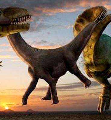 """""""Dvojí smrt"""" – aktualizovaná ilustrace, zobrazující dva obří teropody druhuCarcharodontosaurus saharicus, přetahující se o nebohou kořist v podobě téměř tunového mláděte sauropoda. Kredit: Robert Nicholls (2015), web paleocreat"""