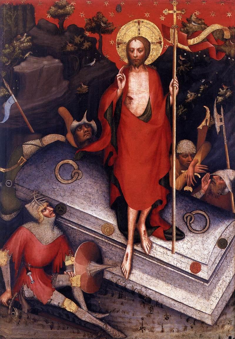 Návrat ze světa mrtvých v podání Mistra Třeboňského oltáře. 80. léta 14. století. Web Gallery of Art