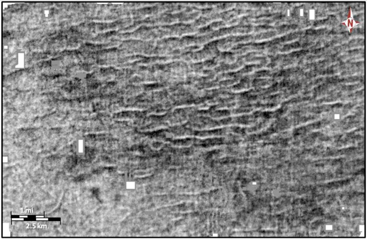 Zkamenělé stopy chicxulubských vln tsunami pod Louisianou. Kredit: Kaare Egedahl.