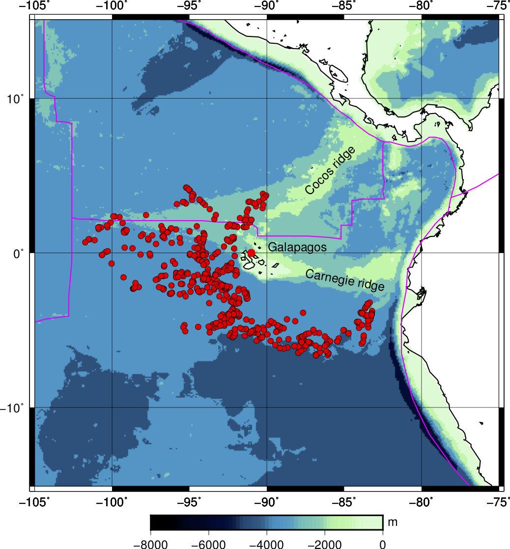 Červené tečky označují místa, kde MERMAIDS detekovaly seismický signál. Kredit: Princeton University.