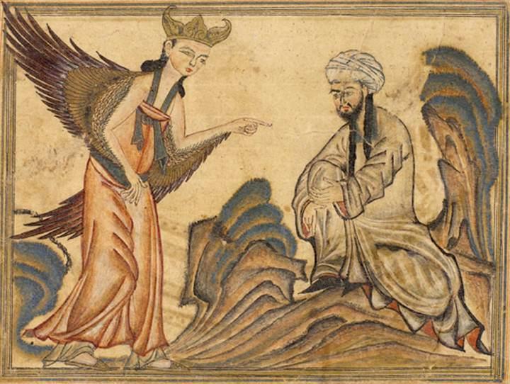 Archanděl Gabriel diktuje súry Koránu Mohamedovi (1307). Wikipedie, volné dílo.