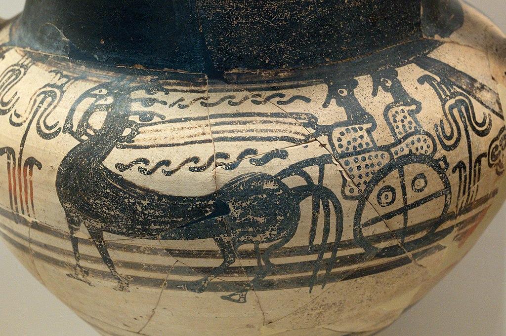 Koně a vůz s dámami. Amforoidní kratér, Nafplion, 1300-1250 před n. l Archeologické muzeum v Naupliu. Kredit: Zde, Wikimedia Commons. Licence CC 4.0.