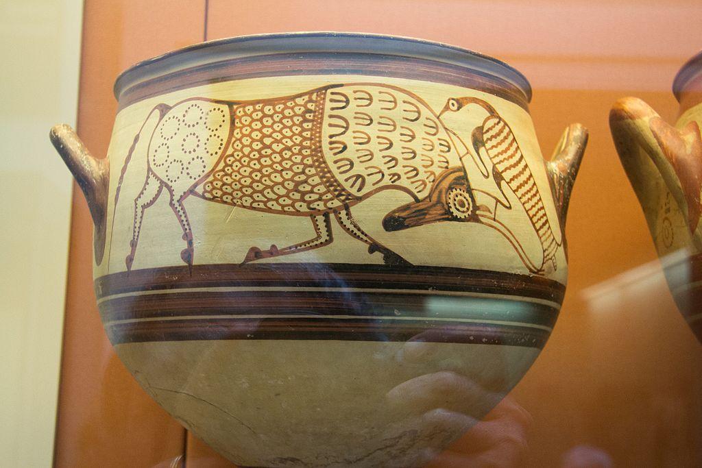 Býk a volavka. Mykénský kratér z Enkomi na Kypru, 13. století před n. l. Britské muzeum, GR 1897.4-1.927, BM Cat Vases C397. Kredit: Zde, Wikimedia Commons. Licence CC 4.0.