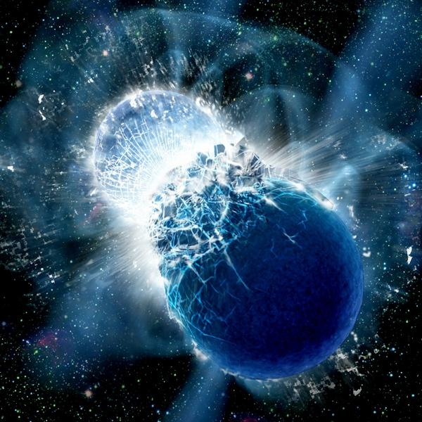 Kolize neutronových hvězd. Kredit: Dana Berry, SkyWorks Digital, Inc./Harvard-Smithsonian Center for Astrophysics.