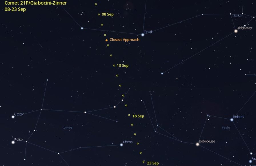 Současný pohyb komety 21P/Giacobini-Zinner po noční obloze do 23. Září. Kredit: Cometwatch