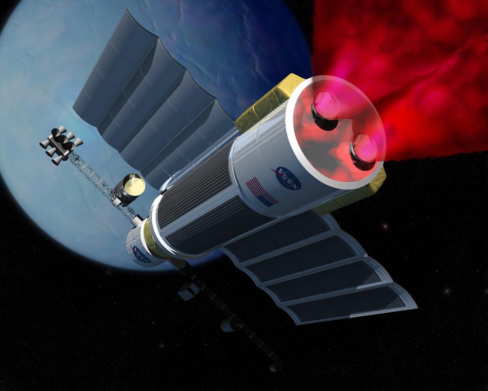 Kosmická loď AIMstar v představách malíře (zdroj Penn State University Antimatter)